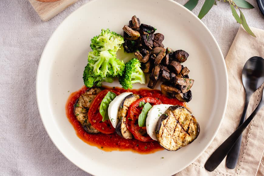 Grilled Eggplant Caprese, Roasted Mushrooms, Steamed Broccoli