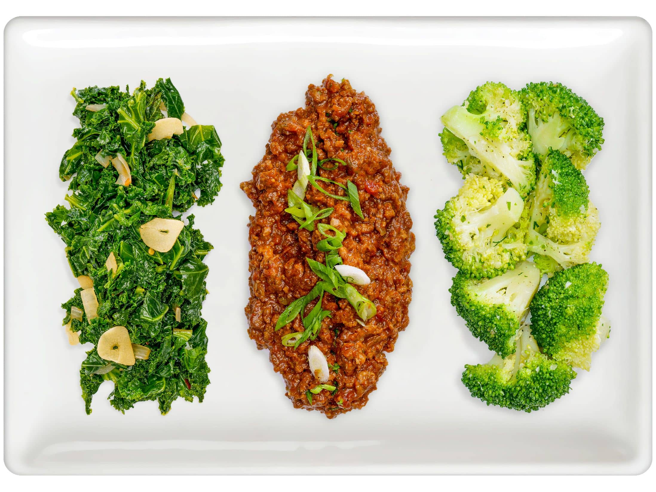 Braised Kale, Chili Con Carne, Steamed Broccoli