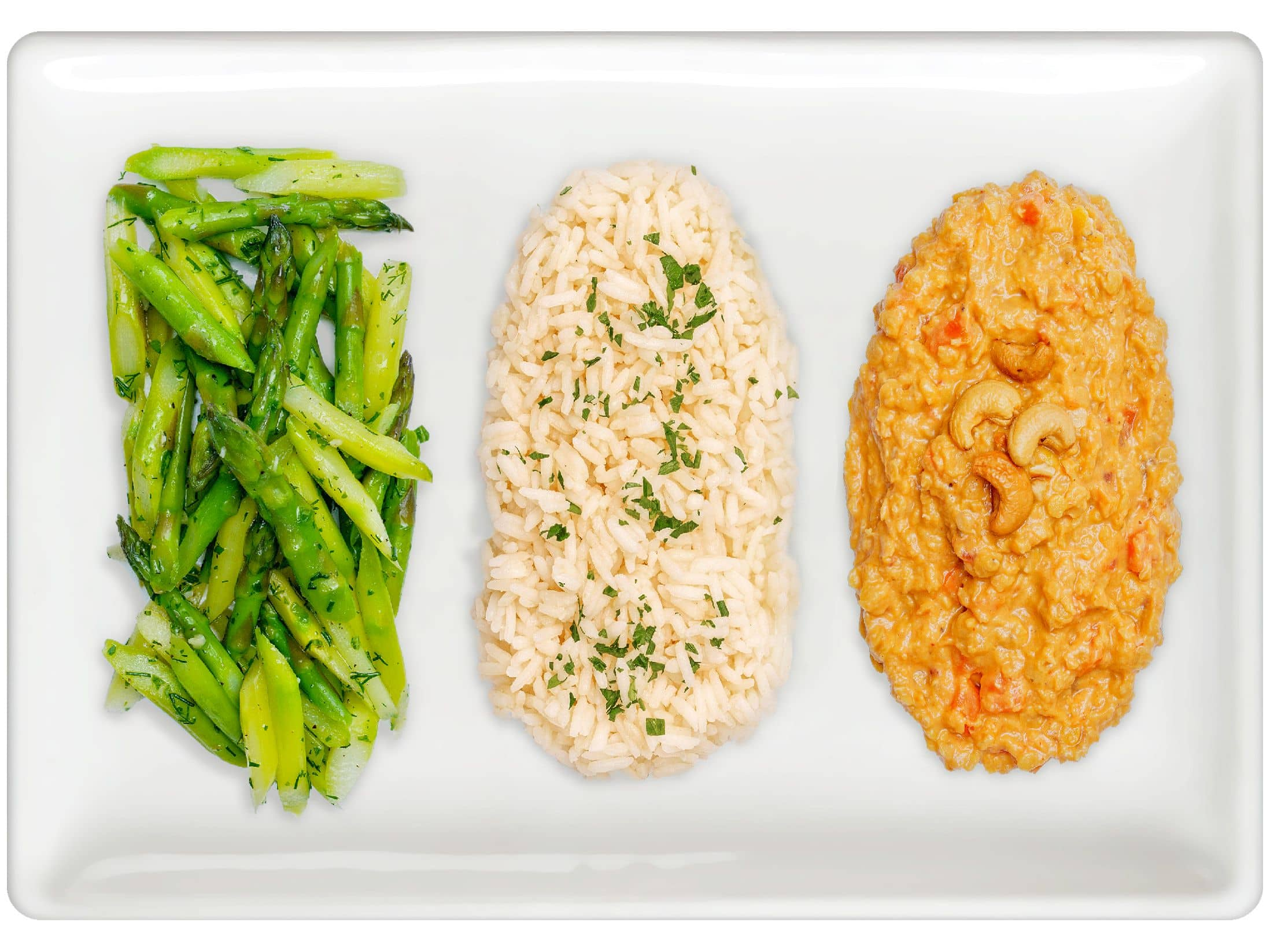 Asparagus, Basmati Rice Pilaf, Red Lentil Curry