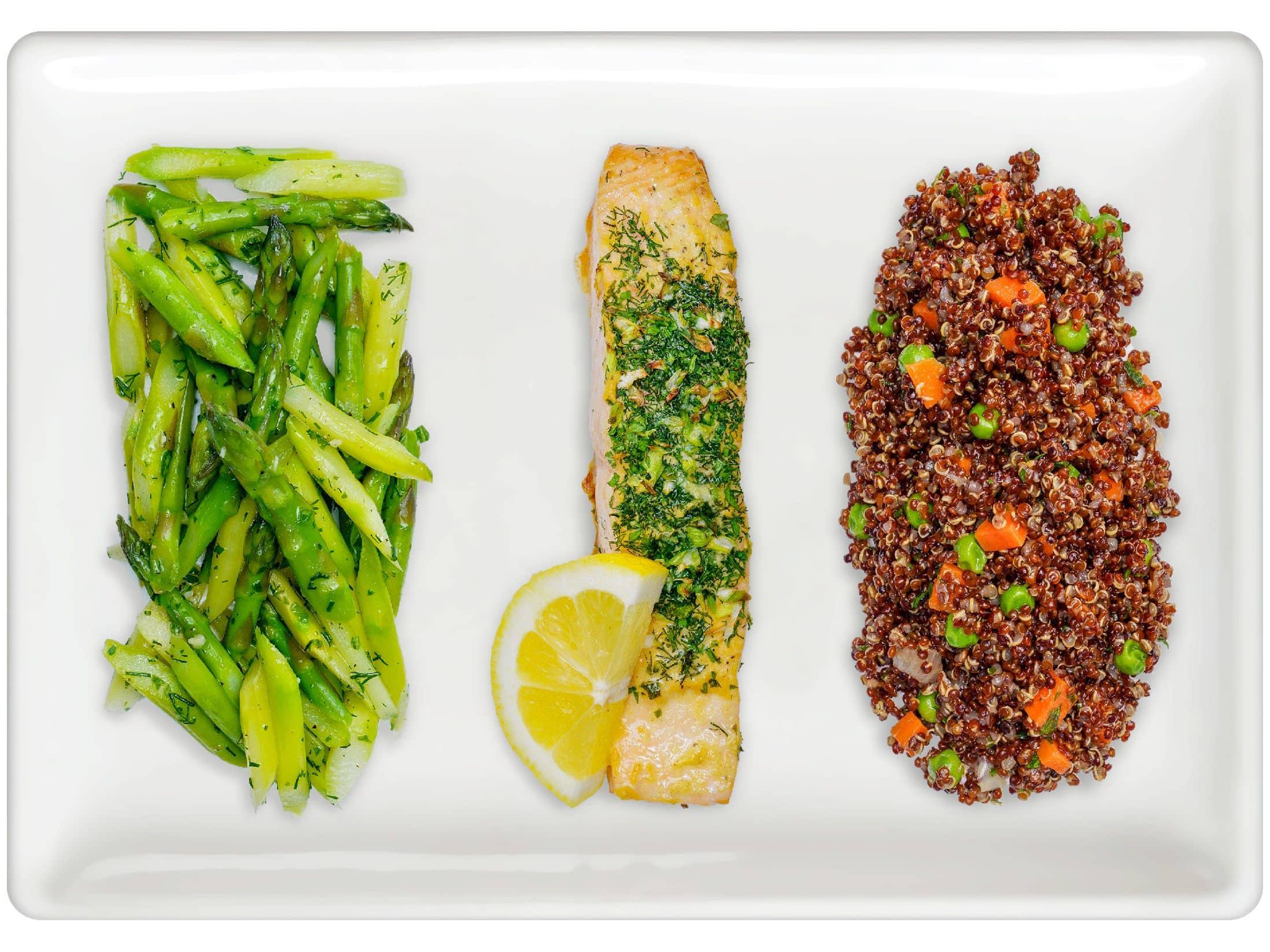 Asparagus, Herb-Roasted Salmon, Quinoa Pilaf