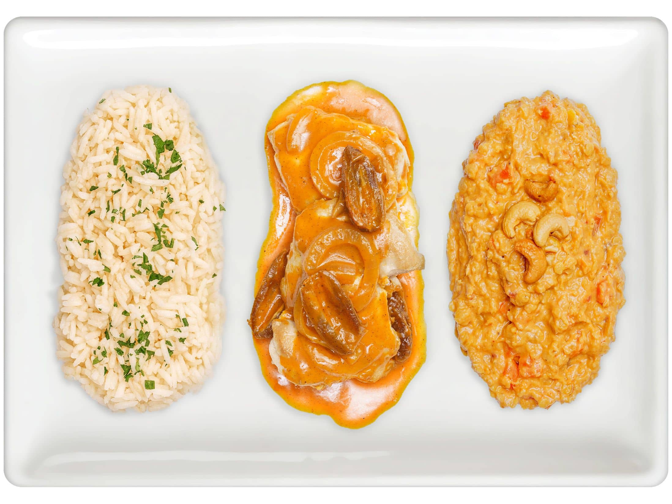 Basmati Rice Pilaf, Moroccan Chicken, Red Lentil Curry