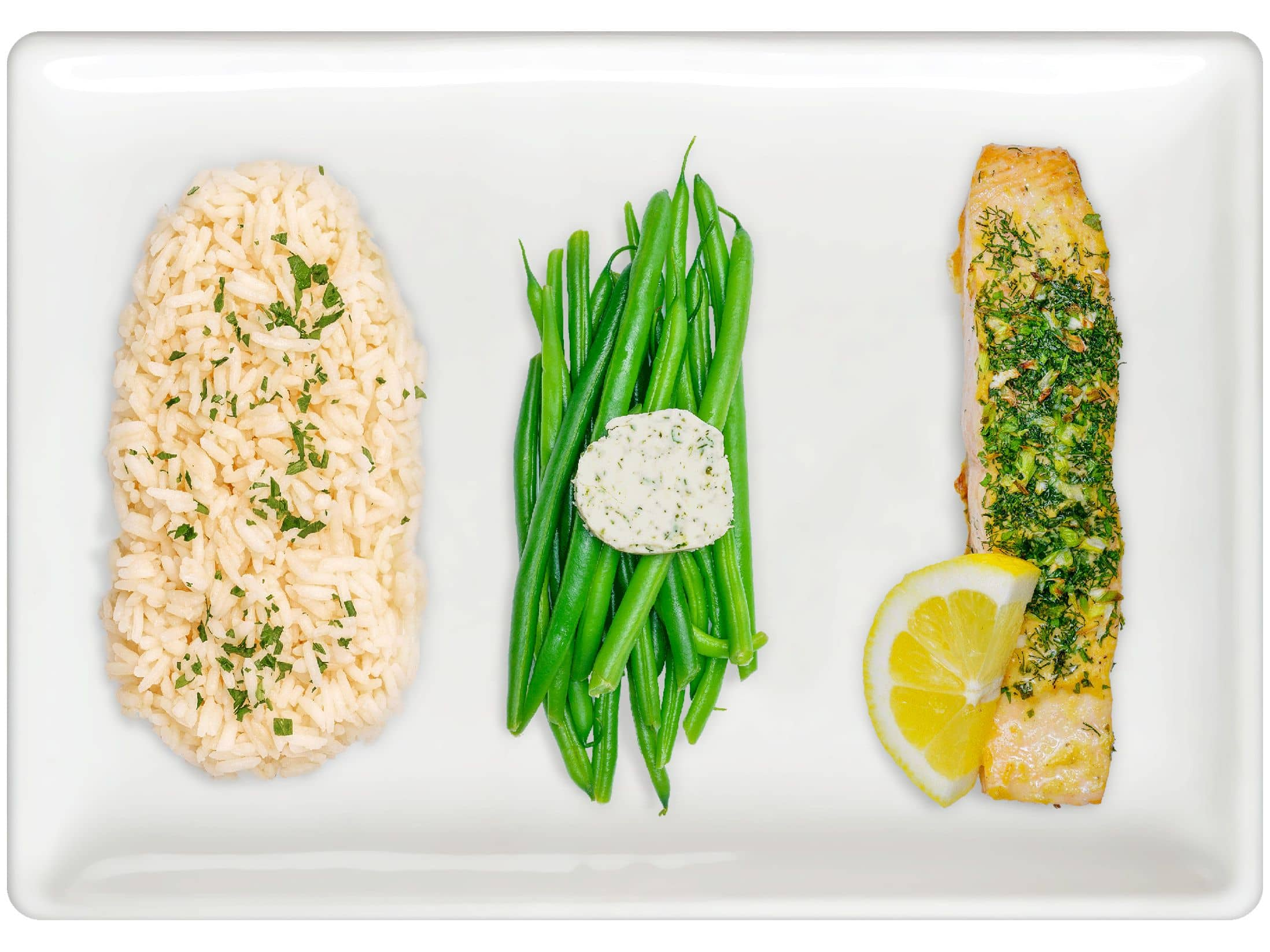 Basmati Rice Pilaf, Green Beans, Herb-Roasted Salmon