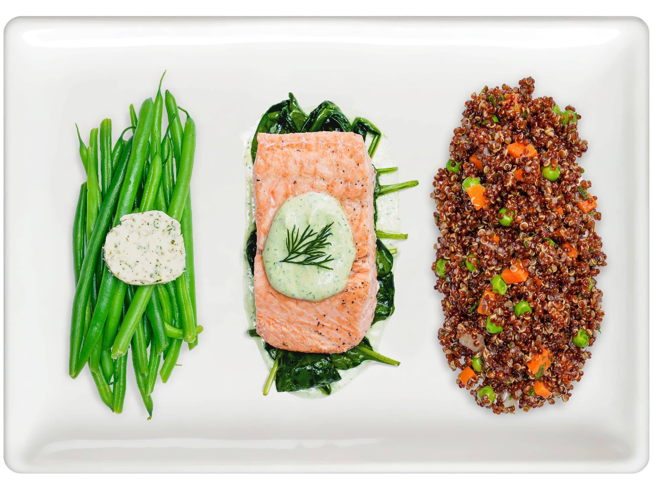 Green Beans, Poached Salmon, Quinoa Pilaf