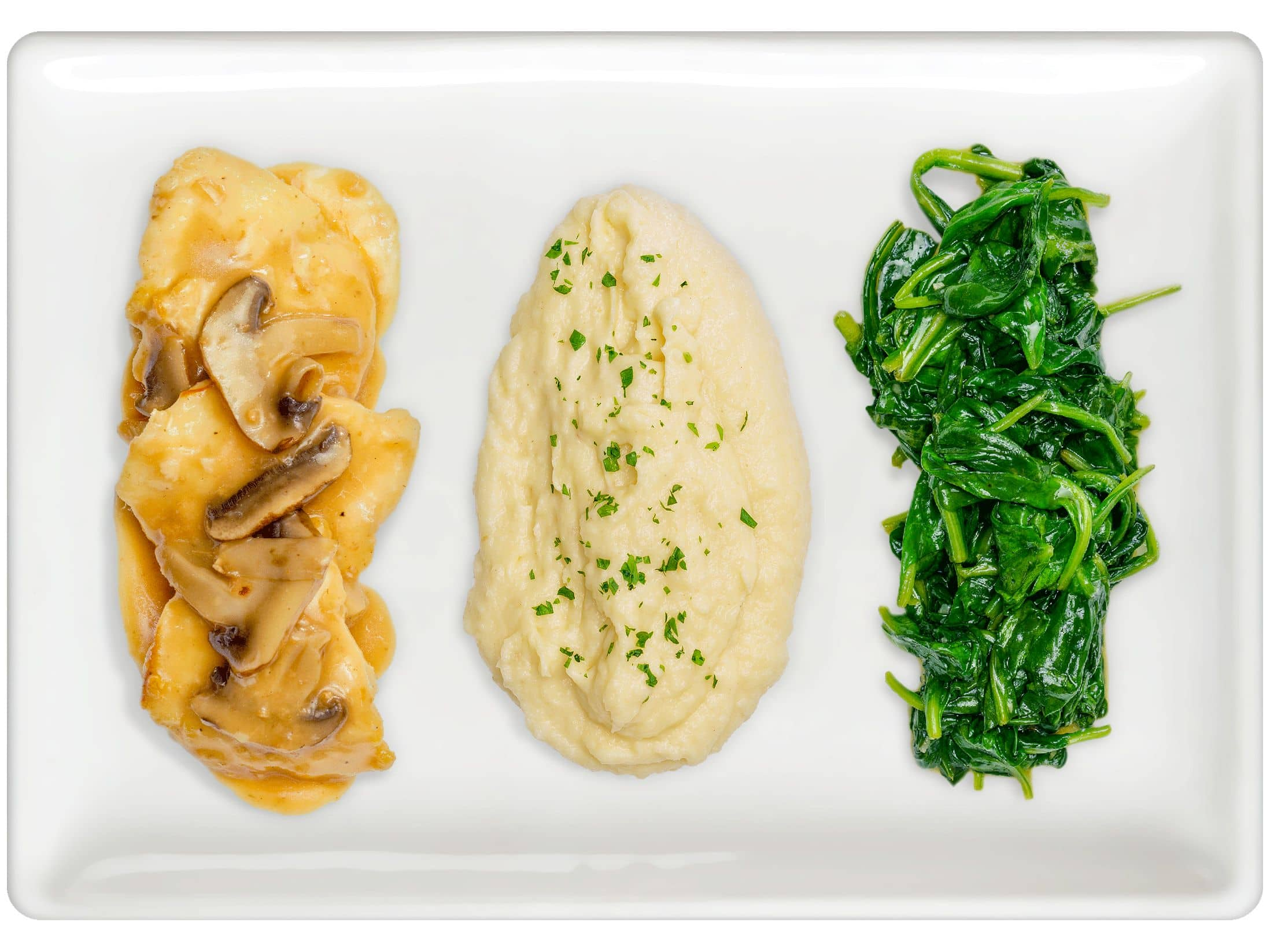 Chicken Marsala, Potato Puree, Steamed Spinach