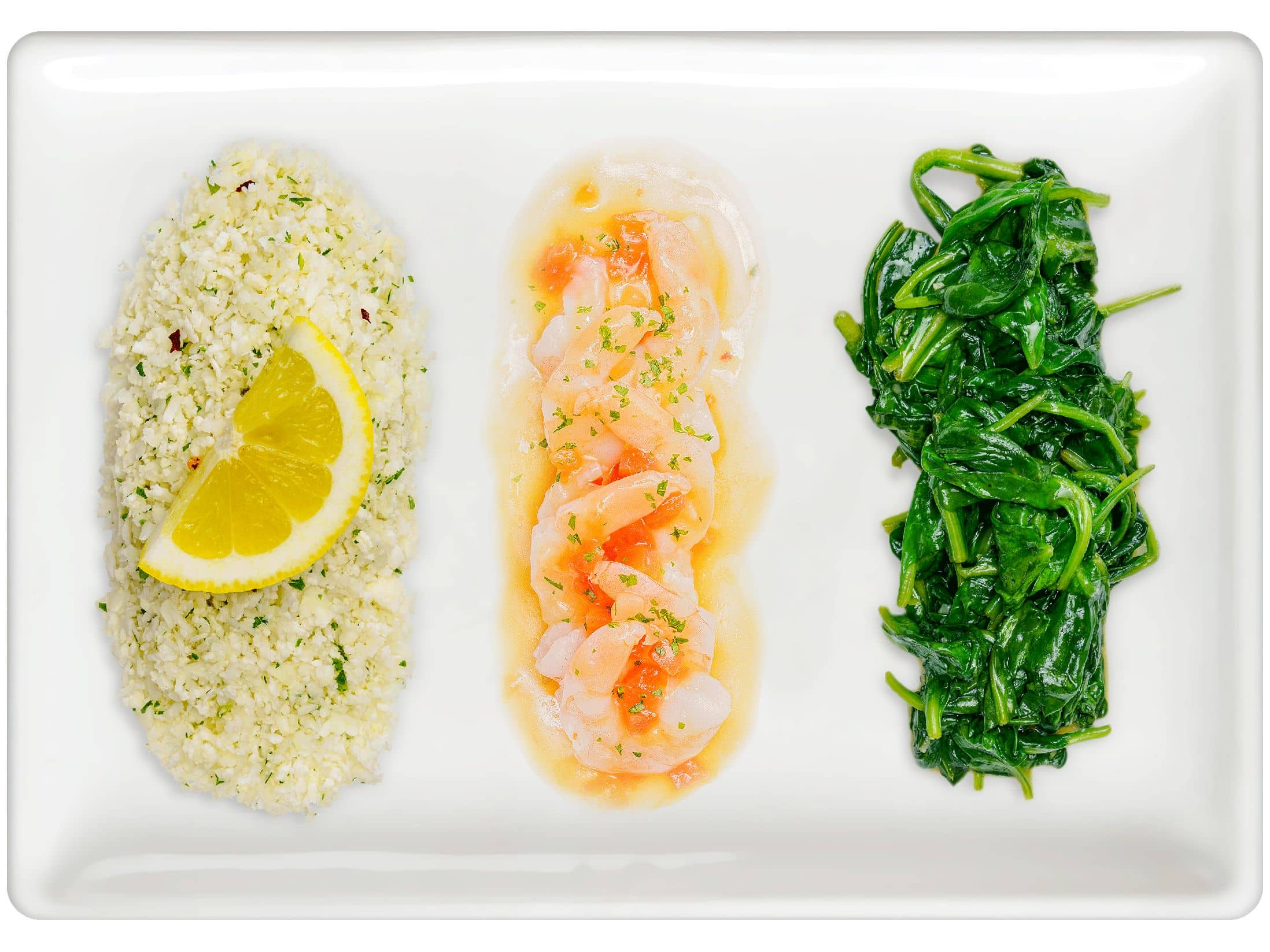 Lemon Cauliflower Rice, Shrimp Scampi, Steamed Spinach